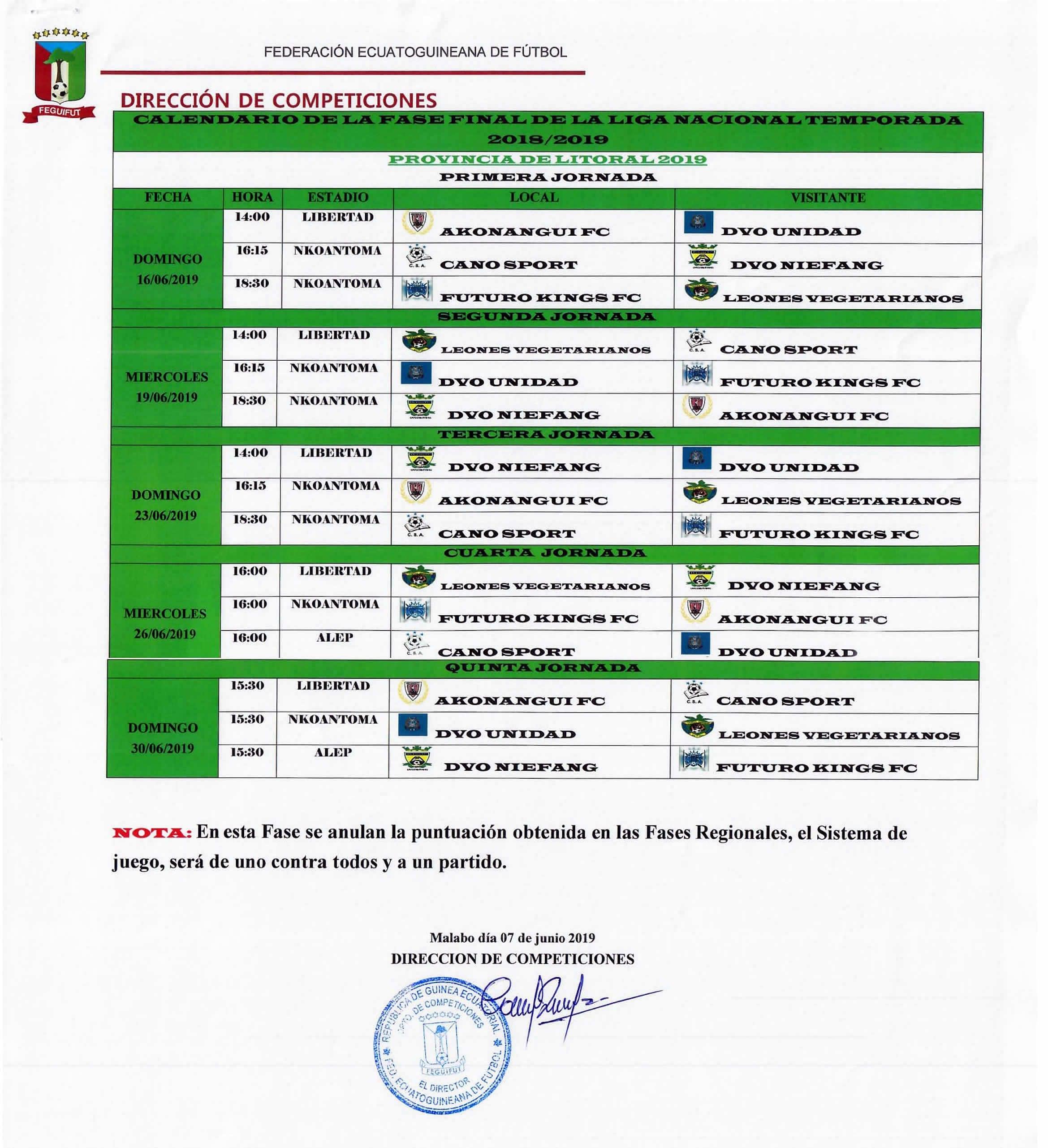La Federación Ecuatoguineana de Fútbol publica el calendario oficial de la Liguilla Nacional de fútbol masculino