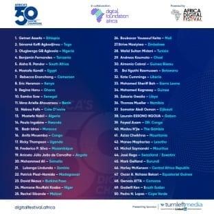 África Digital Festival anuncia la lista inaugural de los 50 campeones digitales de África