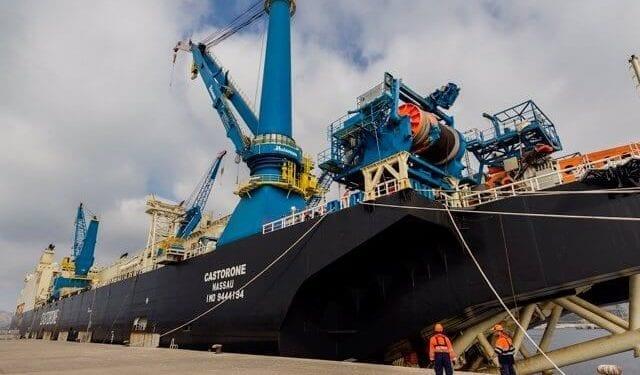 El buque CASTERONE llega a Guinea Ecuatorial para instalar la tubería del proyecto Alen Gas Punta Europa BACKFILL