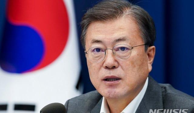 El mandatario de Corea del Sur, Moon Jae-in preside la Conferencia Subo de jefes y asesores en la Casa Azul