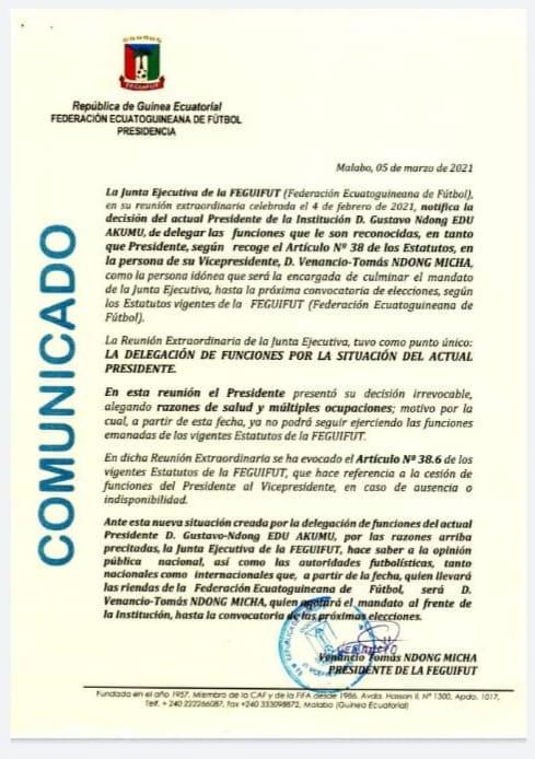 ÚLTIMA HORA: El Presidente de la FEGUIFUT, Gustavo Ndong Edu cede sus funciones a su vicepresidente, Venancio Tomas Ndong Micha