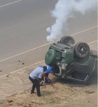 Lamentable accidente de un vehículo militar en las inmediaciones de la panadería San Juan
