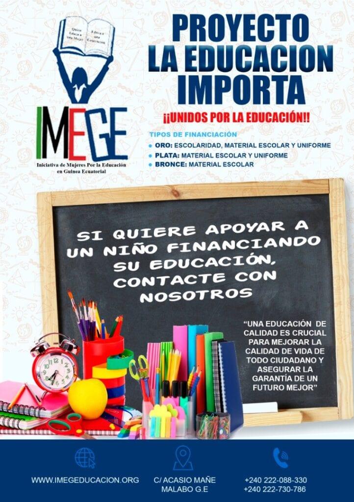 La ONG IMEGE lanza por segunda vez el proyecto 'La Educación Importa'