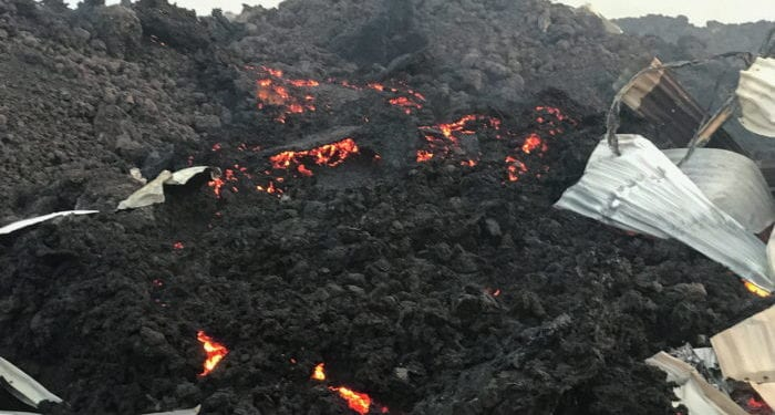 Smouldering lava deposited by the eruption of Mount Nyiragongo volcano is seen near Goma, in the Democratic Republic of Congo May 23, 2021. REUTERS/Djaffar Al Katanty       NO RESALES. NO ARCHIVES.