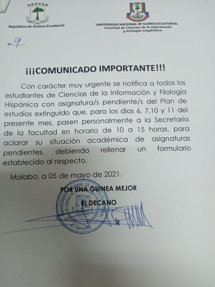 Urgente: Se convoca a estudiantes de antiguo Plan de la Facultad de Ciencias de la Información y Filología Hispánica