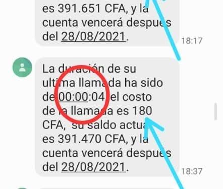 Mensajes enviados por la compañía a los usuarios después de una llamada