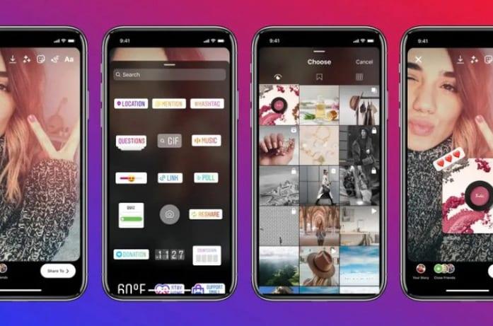 Con la nueva opción, Instagram mostrará una lista de publicaciones a escoger en la zona de edición de las historias. Foto: Instagram