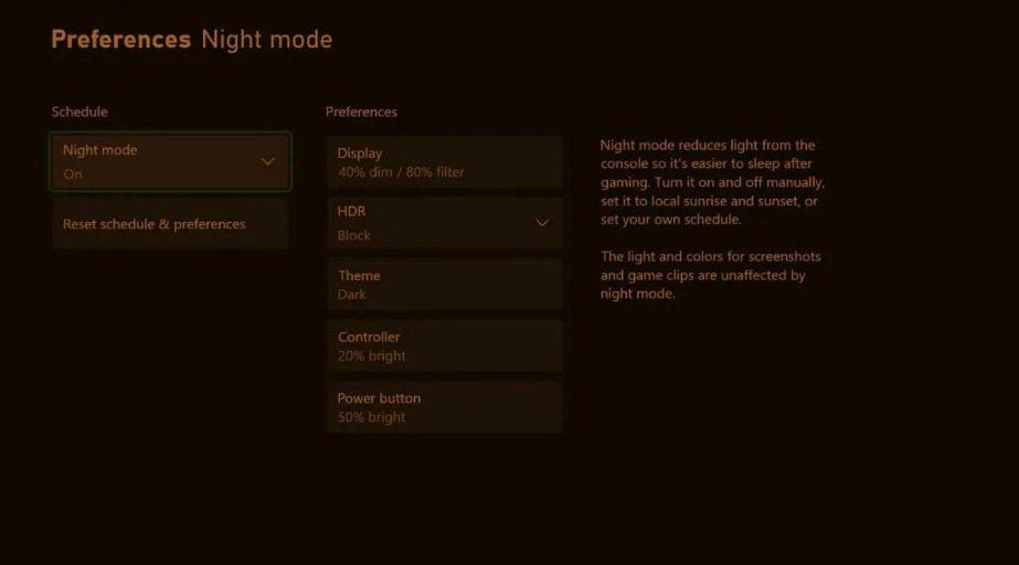 Llega el Modo Nocturno de Xbox
